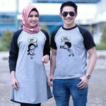 Dress Tunik Couple Hello Love Abu Hitam - Harga Sepasang - Mypoly.ID