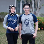 Kaos Couple Lovely Cupid Abu Navy - Harga Sepasang - Mypoly.ID
