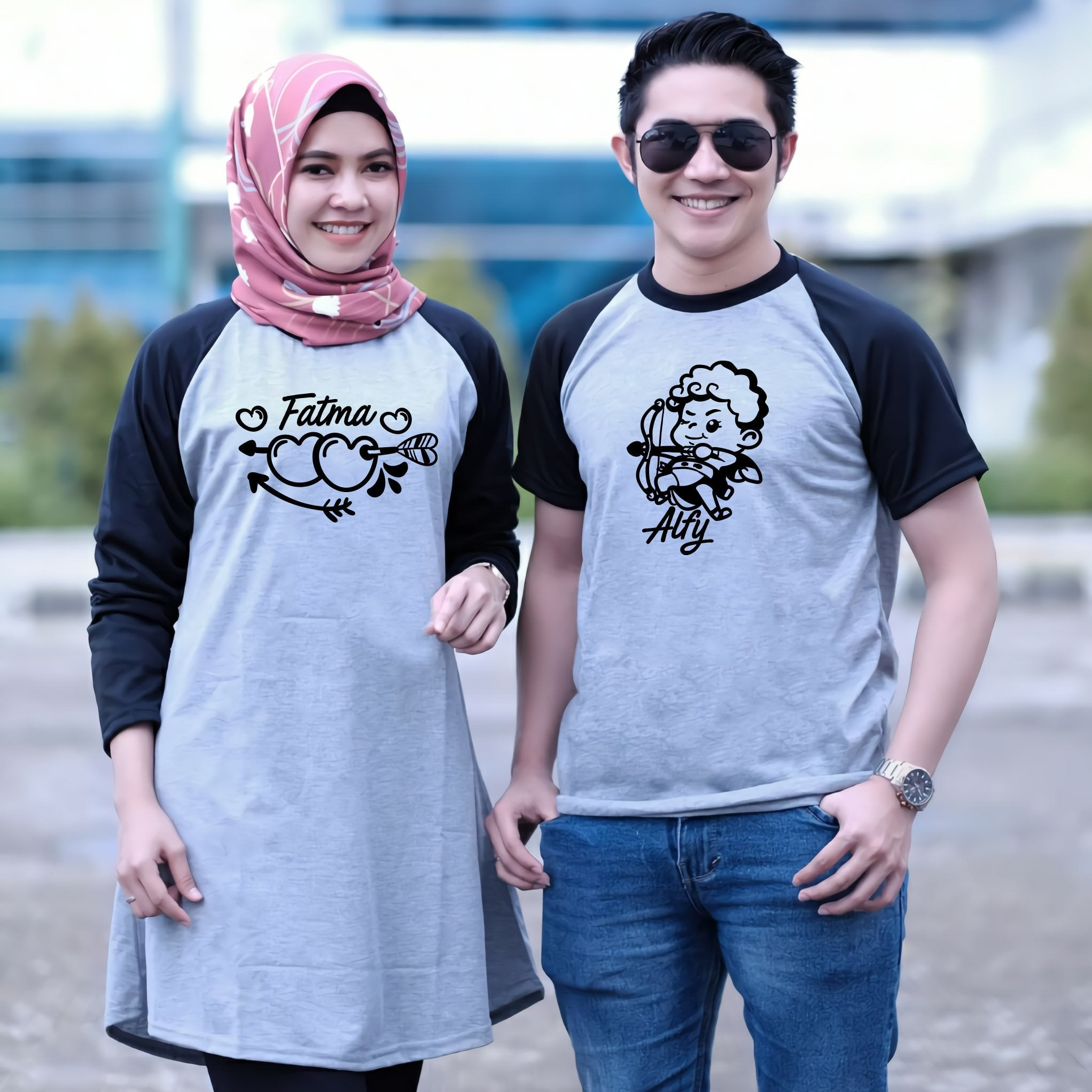 Dress Tunik Couple Lovely Cupid Abu Hitam - Harga Sepasang - Mypoly.ID