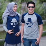 Dress Tunik Couple Mustache Abu Navy - Harga Sepasang - Mypoly.ID