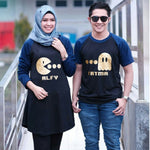 Dress Tunik Couple Pacman Hitam Navy - Harga Sepasang - Mypoly.ID