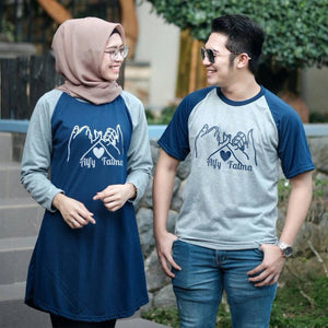 Dress Tunik Couple Promise Abu Navy - Harga Sepasang - Mypoly.ID