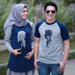 Dress Tunik Couple Siluet Muslim Abu Navy - Harga Sepasang - Mypoly.ID