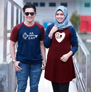 Dress Tunik Lock of Love Maroon navy - Harga Sepasang - Mypoly.ID