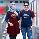 Dress Tunik Couple Crown Maroon Navy - Harga Sepasang - Mypoly.ID
