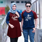 Dress Tunik Couple King an Queen Maroon Navy - Harga Sepasang - Mypoly.ID