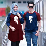 Dress Tunik Couple Siluet Muslim Maroon navy - Harga Sepasang - Mypoly.ID