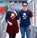 Dress Tunik Couple Moustache Maroon navy - Harga Sepasang - Mypoly.ID