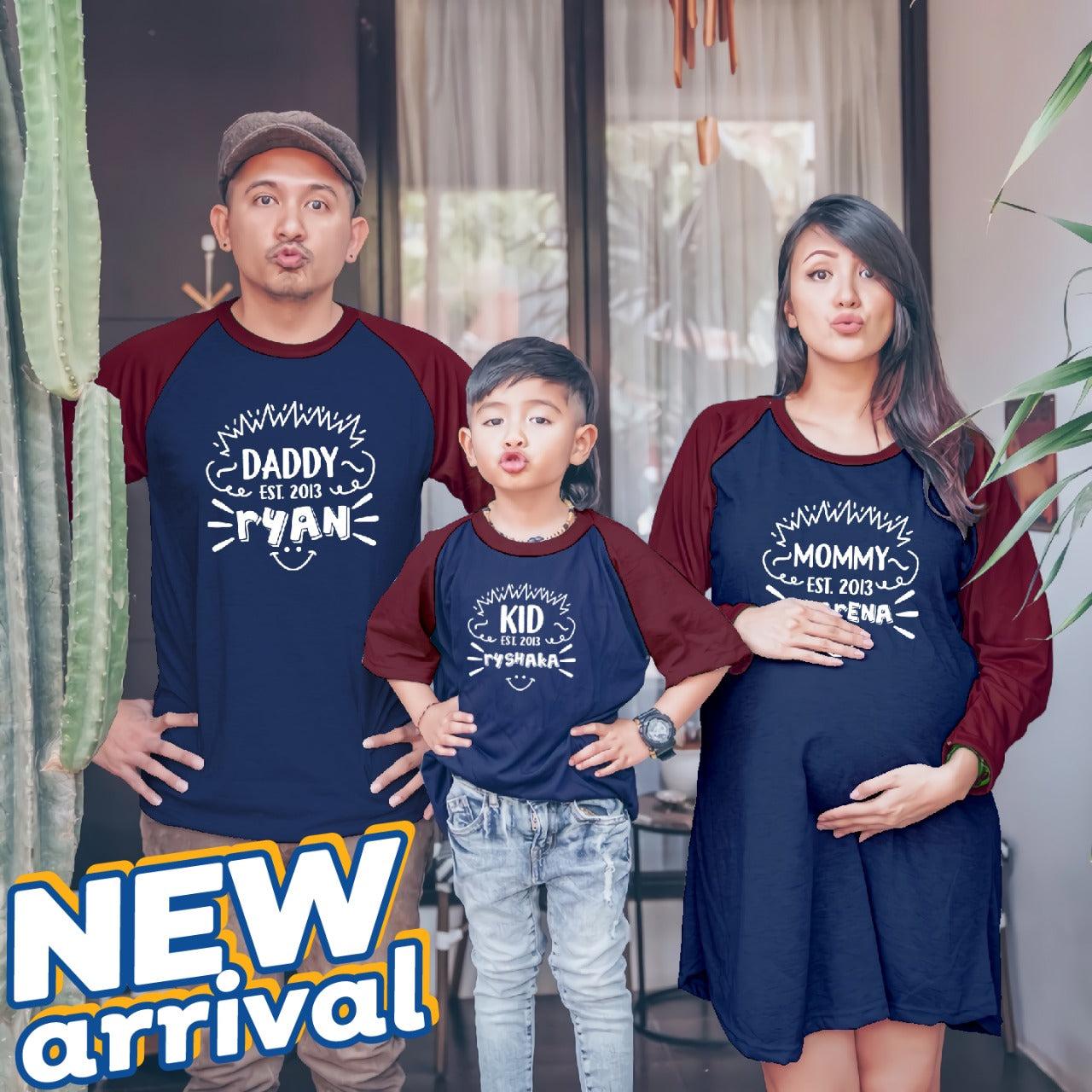 Dress Tunik Keluarga Smile Family Navy Maroon - Harga Sepaket - Mypoly.ID