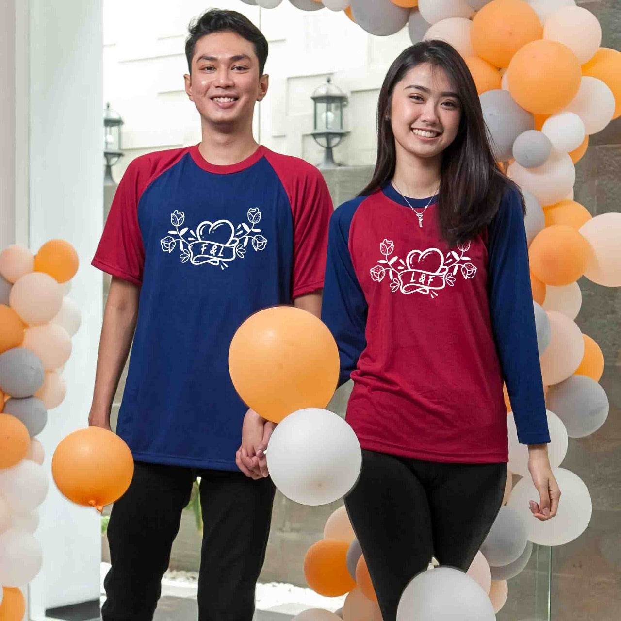 Kaos Couple Flower of Love 152 Navy Maroon - Harga Sepasang - Mypoly.ID