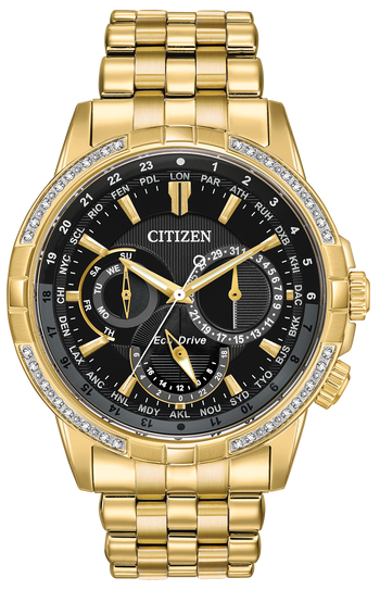 Mens Eco Drive Calendar Gold W/ Diamonds