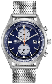 Citizen Eco-Drive Men's Chronograph Chandler Stainless Steel Mesh Bracelet Watch