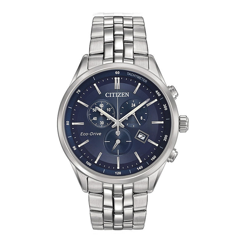 Citizen Eco-Drive Mens Stainless Steel Chronograph Watch AT2141-52L