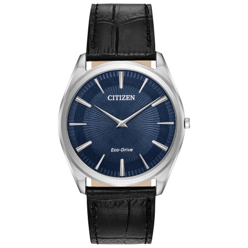 Citizen Eco-Drive Men's Stiletto Black Leather Strap Watch 38mm