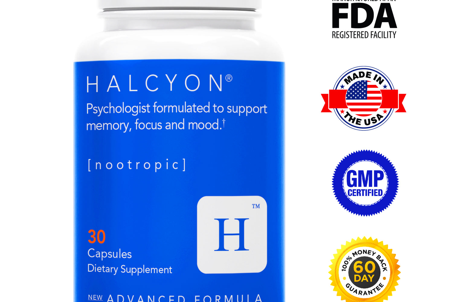 Halcyon BLUE | Brain and Immune Support | Nootropic Formula