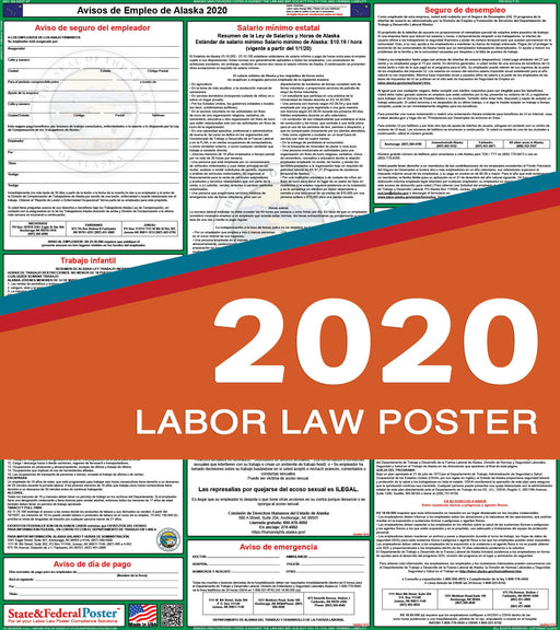 Alaska State Labor Law Poster 2020 (SPANISH) - State and Federal Poster