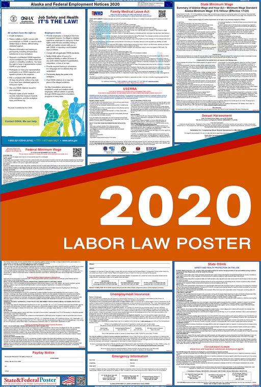 Alaska State and Federal Labor Law Poster 2020 - State and Federal Poster