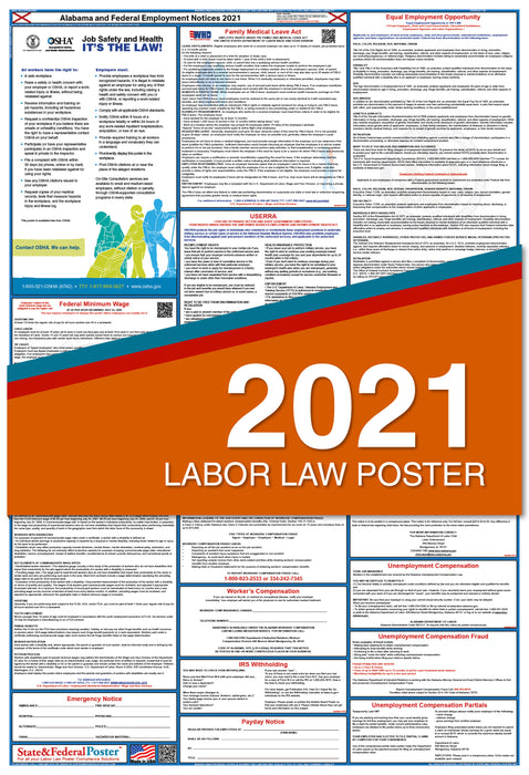 Alabama State and Federal Labor Law Poster 2021