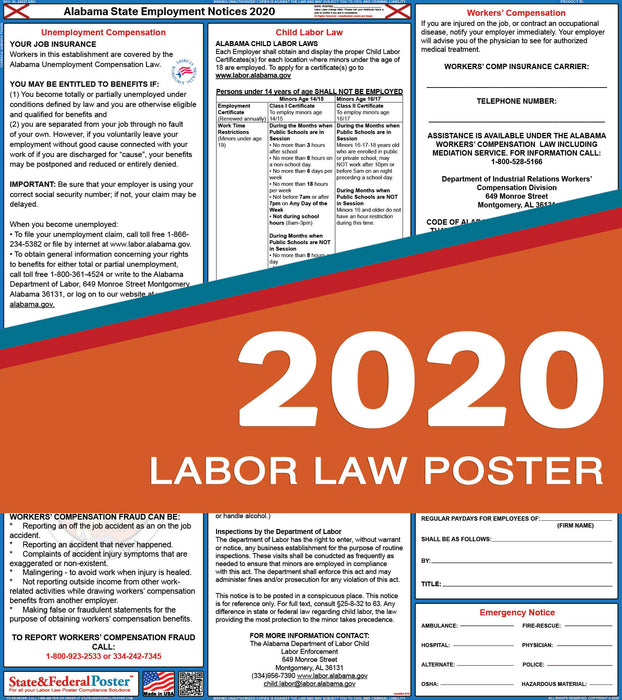 Alabama State Labor Law Poster 2020 - State and Federal Poster