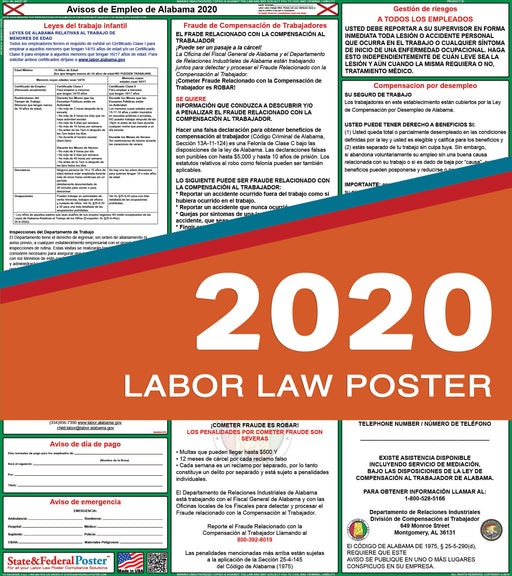 Alabama State Labor Law Poster 2020 (SPANISH) - State and Federal Poster