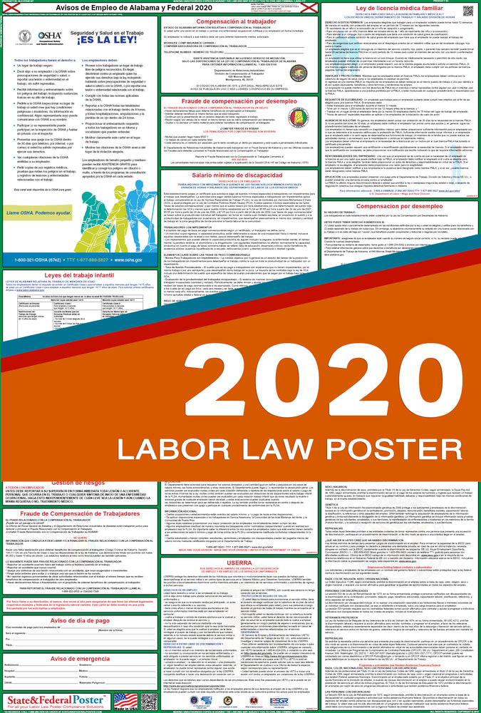 Alabama State and Federal Labor Law Poster 2020 (SPANISH) - State and Federal Poster