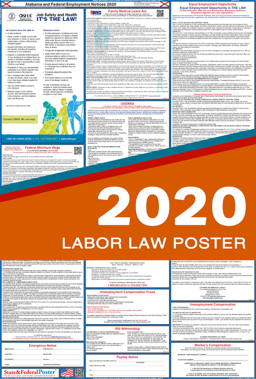 PREORDER - Alabama State and Federal Labor Law Poster 2020