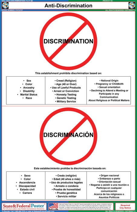 Anti-Discrimination Poster (Bilingual)