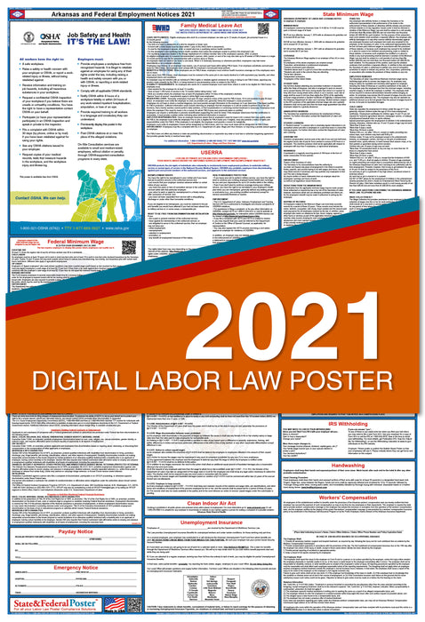 Digital Arkansas State and Federal Labor Law Poster 2021