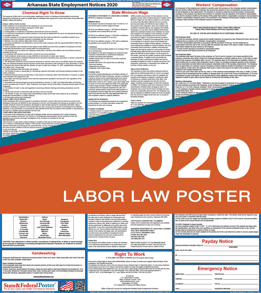 Arkansas State Labor Law Poster 2020 - State and Federal Poster