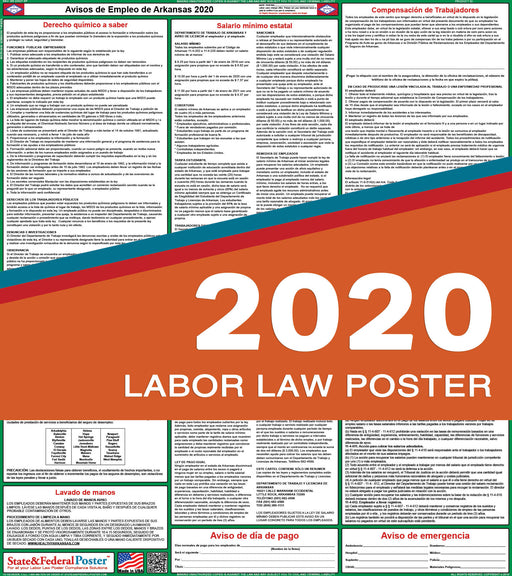 Arkansas State Labor Law Poster 2020 (SPANISH) - State and Federal Poster