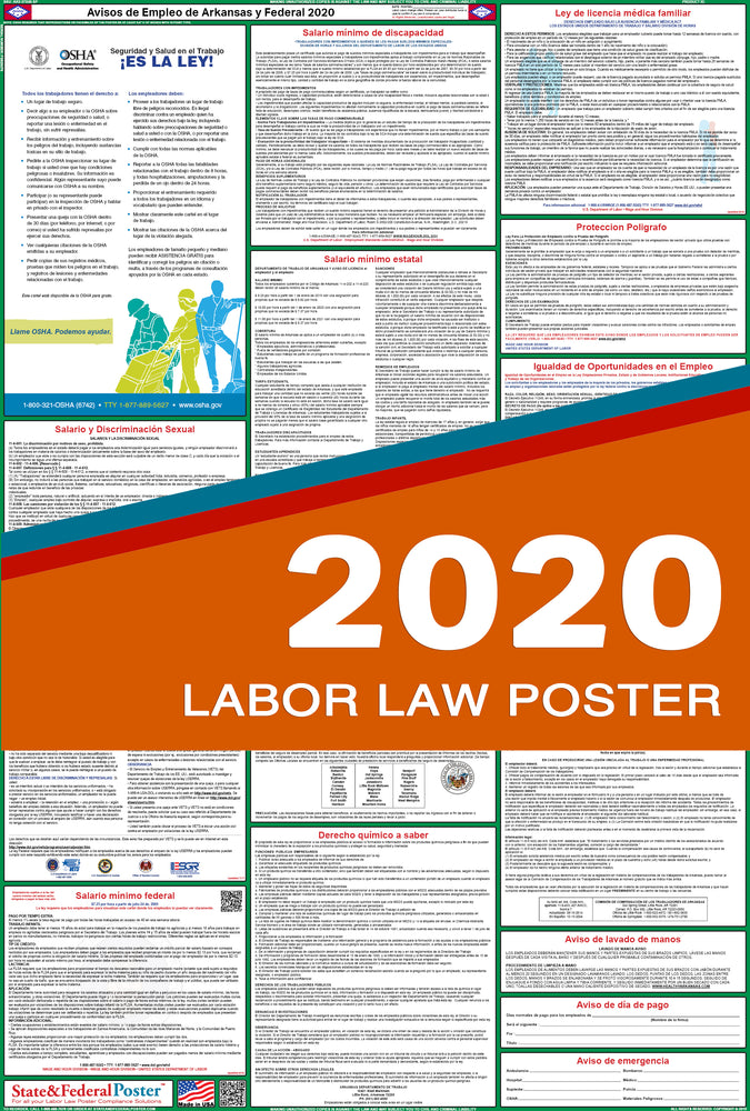 Arkansas State and Federal Labor Law Poster 2020 (SPANISH) - State and Federal Poster
