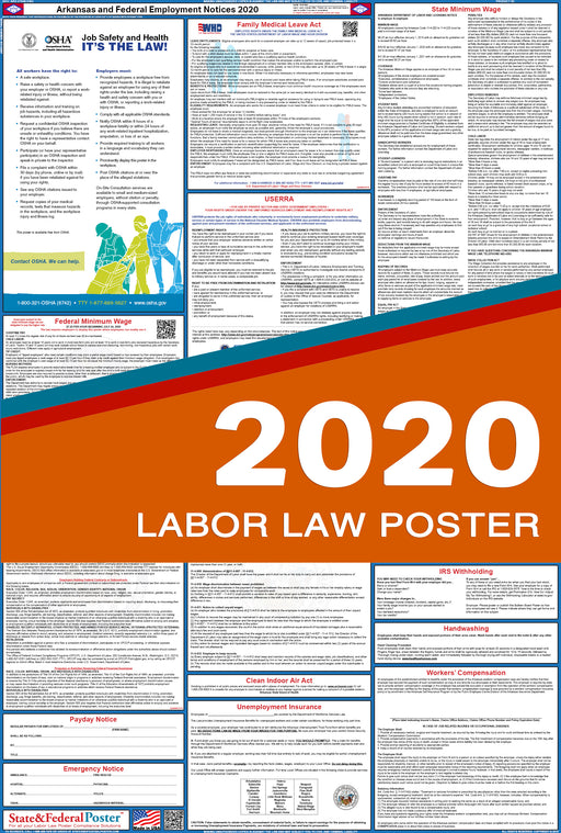 PREORDER - Arkansas State and Federal Labor Law Poster 2020