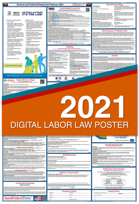 Digital Arizona State and Federal Labor Law Poster 2021