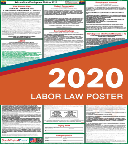 Arizona State Labor Law Poster 2020 (SPANISH) - State and Federal Poster