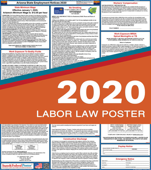 Arizona State Labor Law Poster 2020 - State and Federal Poster