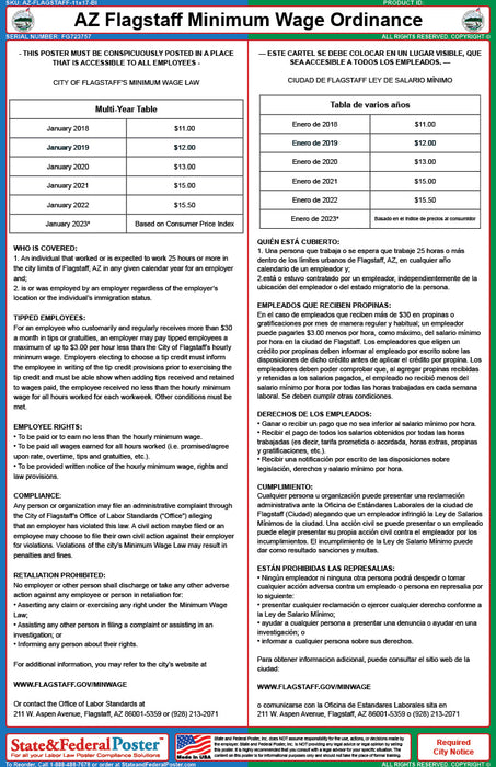 AZ Flagstaff Minimum Wage City Ordinance Poster (Bilingual) - State and Federal Poster
