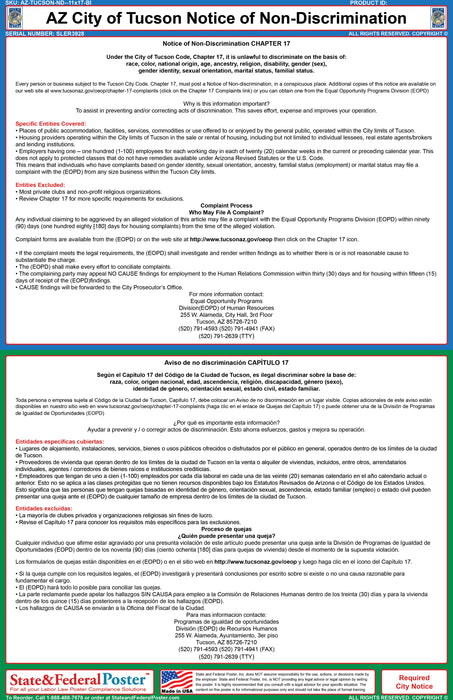AZ Tucson City Notice of Non-Discrimination (Bilingual) - State and Federal Poster