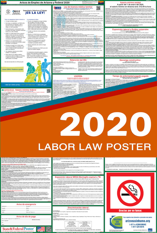 Arizona State and Federal Labor Law Poster 2020 (SPANISH) - State and Federal Poster