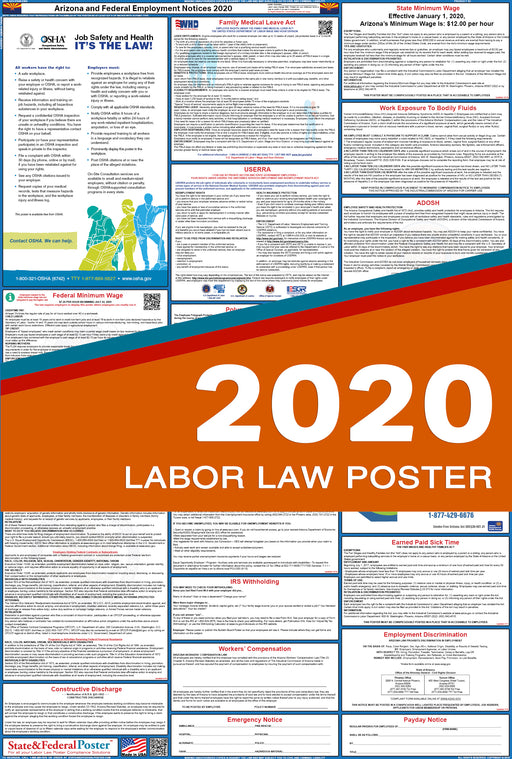 Arizona State and Federal Labor Law Poster 2020 - State and Federal Poster