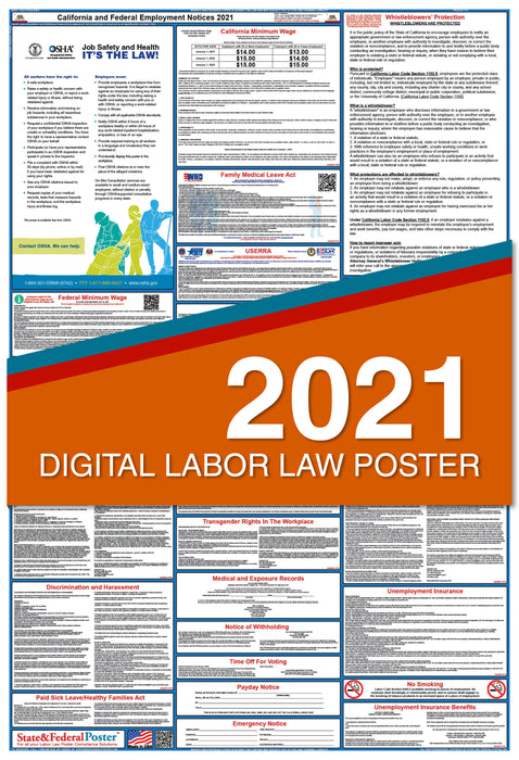 PREORDER - California State and Federal Labor Law Poster 2021