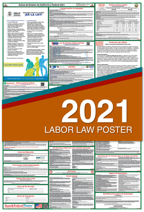 PREORDER - California State and Federal Labor Law Poster 2021 (SPANISH)