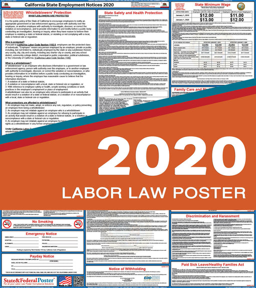 California State Labor Law Poster 2020 - State and Federal Poster
