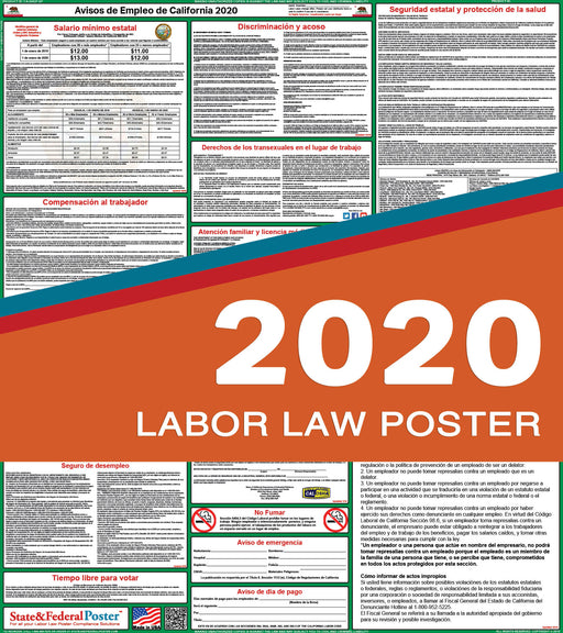 California State Labor Law Poster 2020 (SPANISH) - PREORDER - State and Federal Poster