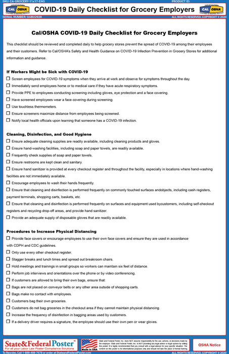 COVID-19 Daily Checklist for Grocery Employers