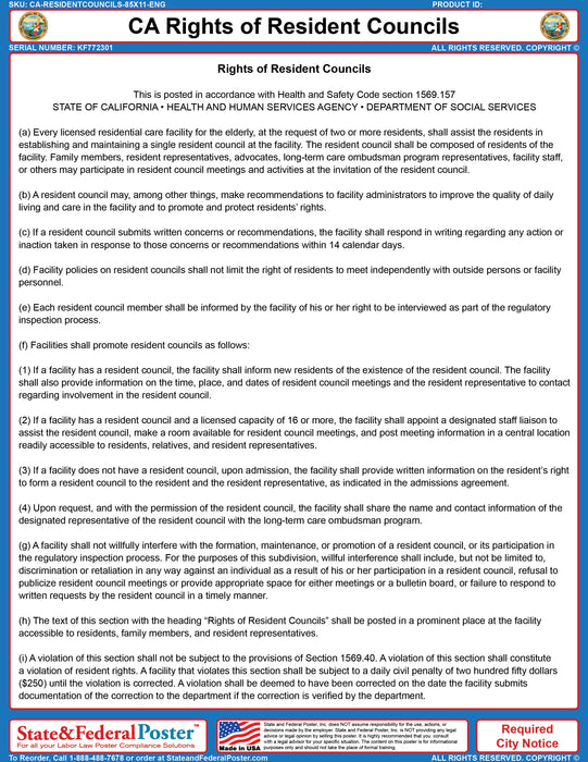 California Rights of Resident Councils Poster - State and Federal Poster