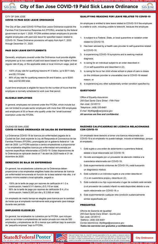 City of San Jose COVID-19 Paid Sick Leave Ordinance (Bilingual) - State and Federal Poster