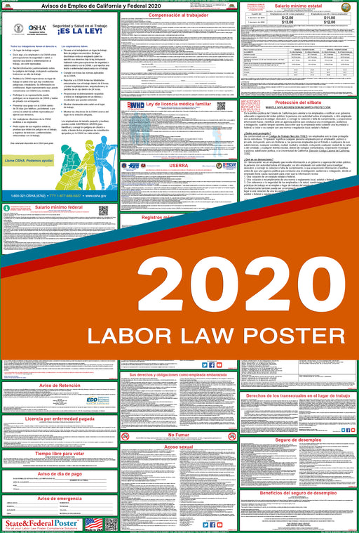 California State and Federal Labor Law Poster 2020 (SPANISH) - PREORDER - State and Federal Poster
