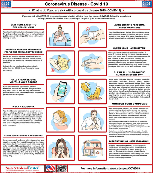 COVID-19 - Coronavirus Safety Awareness Poster - State and Federal Poster