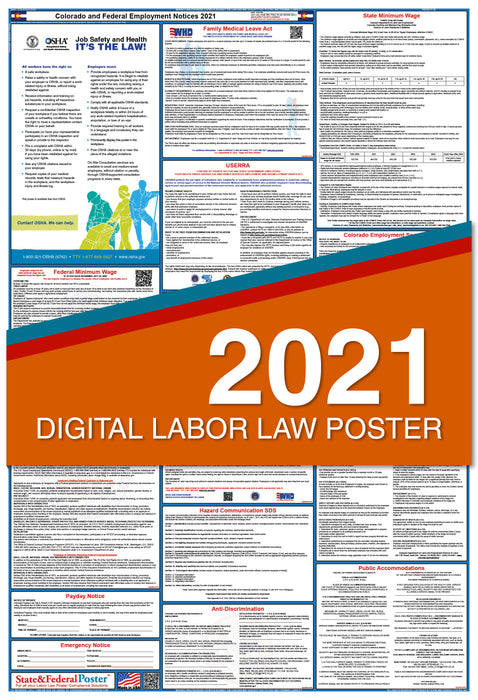 Digital Colorado State and Federal Labor Law Poster 2021