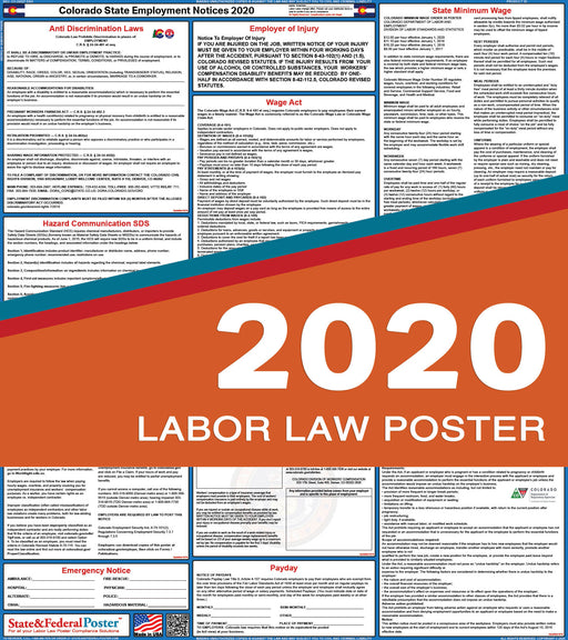 Colorado State Labor Law Poster 2020 - State and Federal Poster